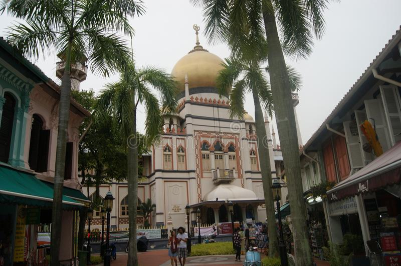 Mosque, palm trees and Arab Street Singapore royalty free stock image