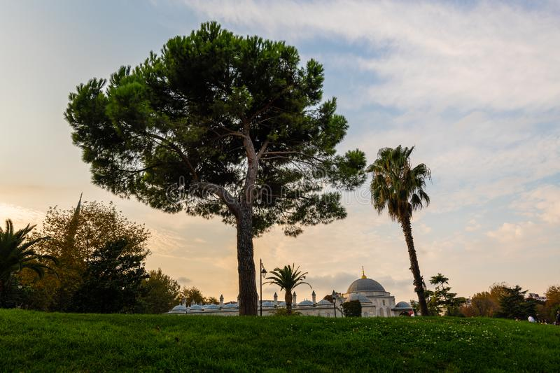 Mosque, Istanbul, Turkey. Mosque in park of Istanbul, Turkey at sunset stock photography