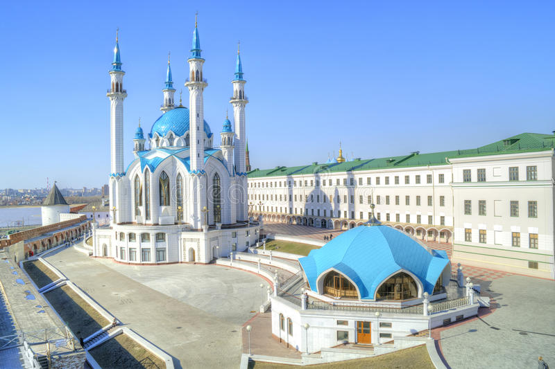 Mosque of QolÅŸarif. Kazan. The territory of the Kazan Kremlin. Islamic shrine reconstructed QolÅŸarif Mosque stock photo