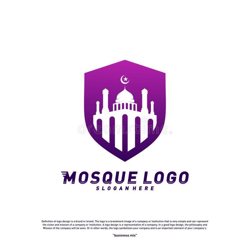 Mosque with Shield logo design concept.Religion Islamic logo template vector. Icon symbol vector illustration