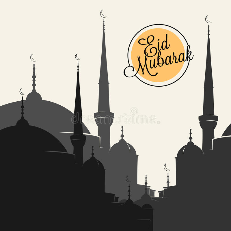 Mosque silhouette royalty free illustration