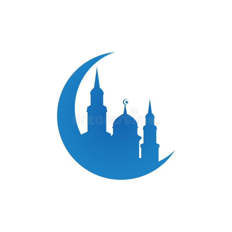 Mosque silhouette logo icon design template vector illustration stock illustration