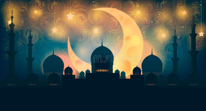 Mosque silhouette in night sky with crescent moon and star stock illustration