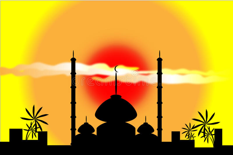 Mosque silhouette at sunset royalty free illustration