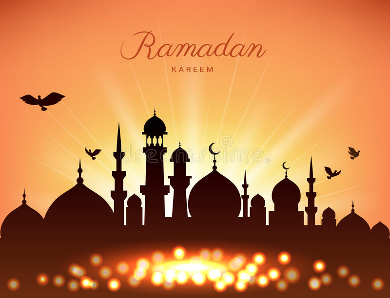 Mosque silhouette in sunset sky and light for ramadan of Islam royalty free illustration
