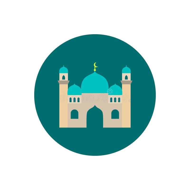 Mosque. Single flat icon on white background. Vector illustration. stock illustration