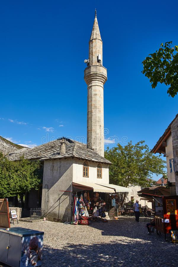 Mosque in Mostar, Bosnia. A mosque in the small streets of Mostar, Bosnia and Herzegovina stock photos