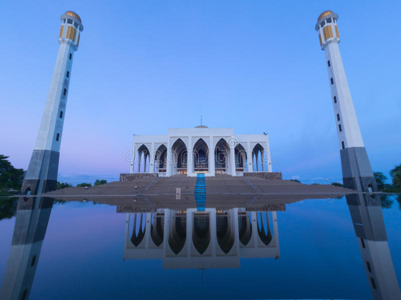 Mosque of Songkla Thailand. With reflection on water ,blue sky morning background royalty free stock images