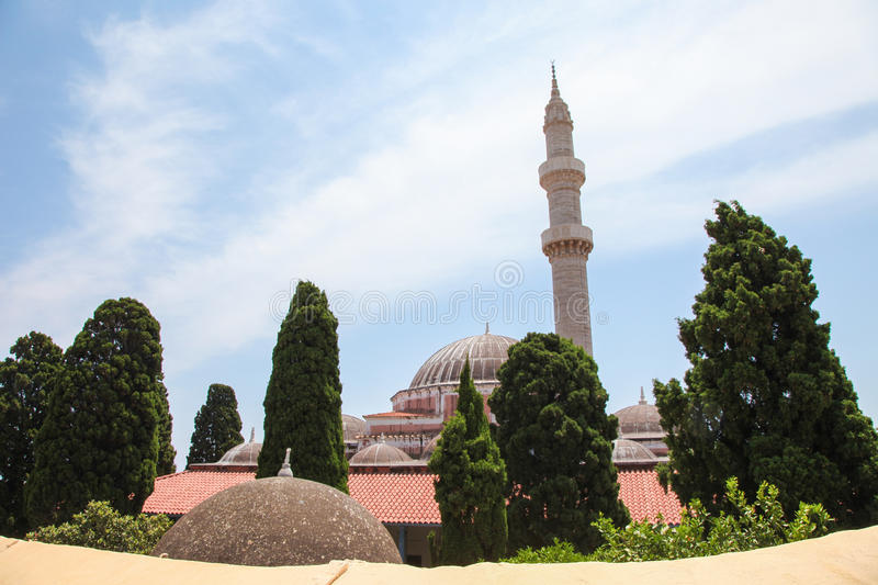 Mosque of Suleiman in Rhodes, Greece stock photo
