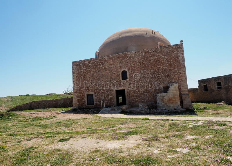 The Mosque of Sultan Ibrahim At The Fortezza Or Fort Of Rethymno Crete Greece. With blue sky royalty free stock photos