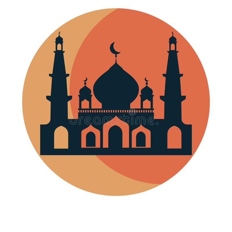 Mosque and sun icon design template. Vector Illustration. vector illustration
