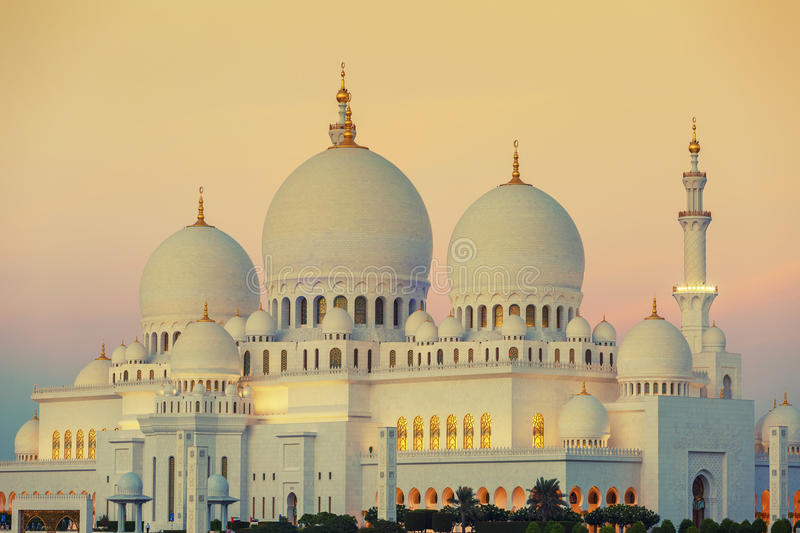 Mosque at sunset royalty free stock images