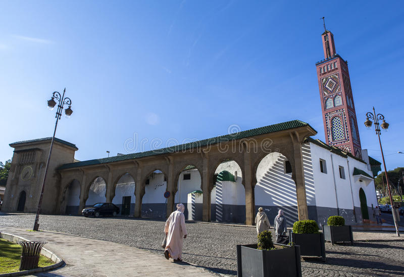 A Mosque in Tangier, Morocco. Tangier is a major city in northern Morocco with a population of approximately 950,000. It is located on the North African coast at stock image