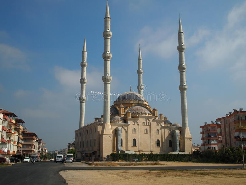 The mosque in the town of Manavgat, Turkey, views of the city and the road to the mosque, interesting architecture. Religion, Islam stock photos