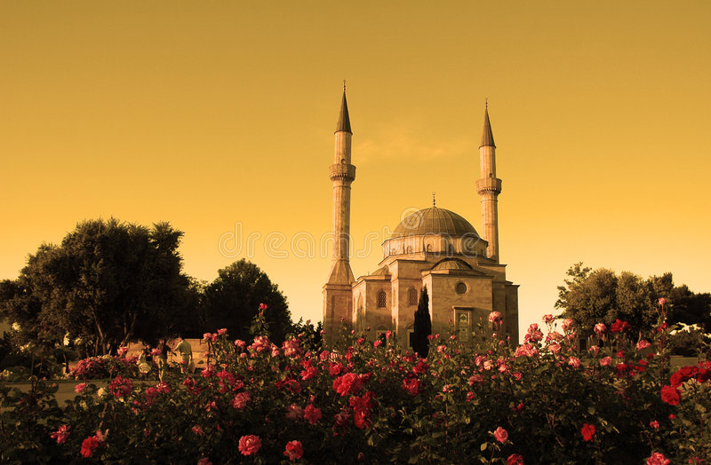 Mosque with two minarets royalty free stock image