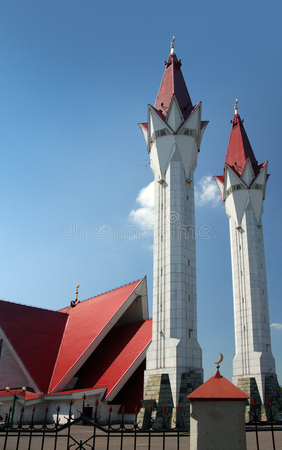 Mosque With Two Minarets Stock Photography