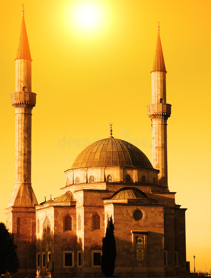 Mosque with two minarets royalty free stock photo