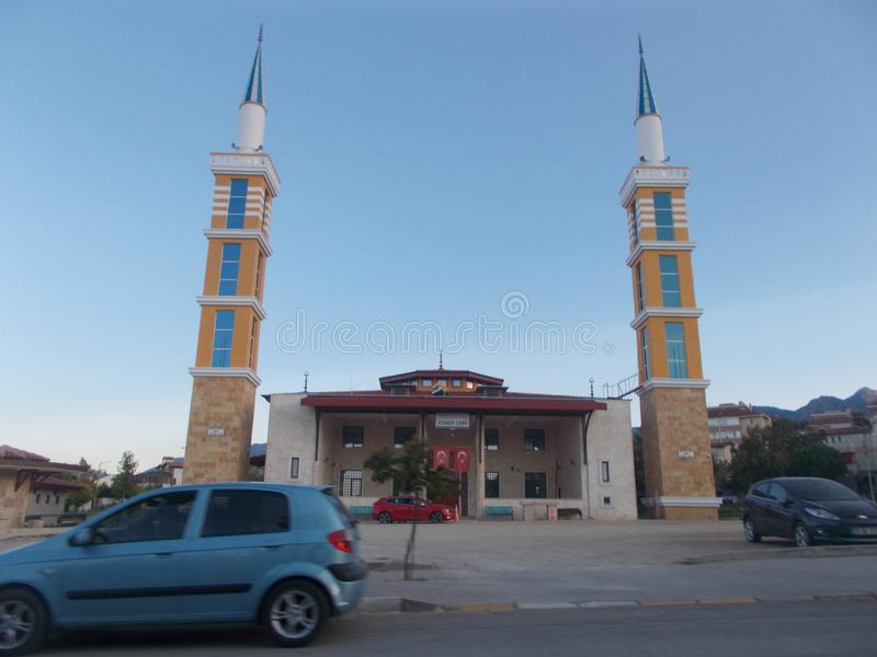 A Mosque With Two Minarets stock photography