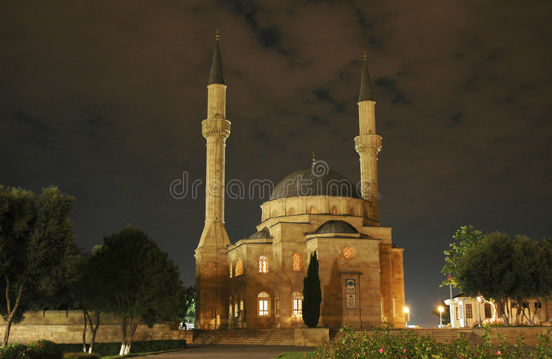 Download Mosque With Two Minarets At Ni Stock Image - Image: 1011605