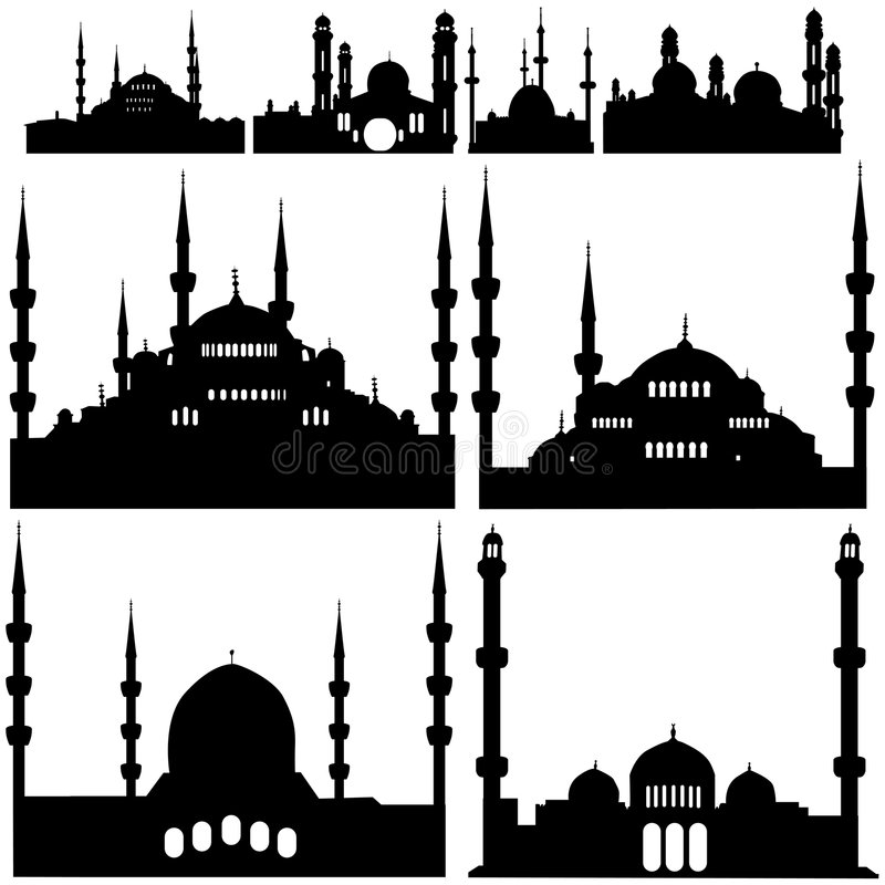Mosque vector. Mosque building silhouette black vector