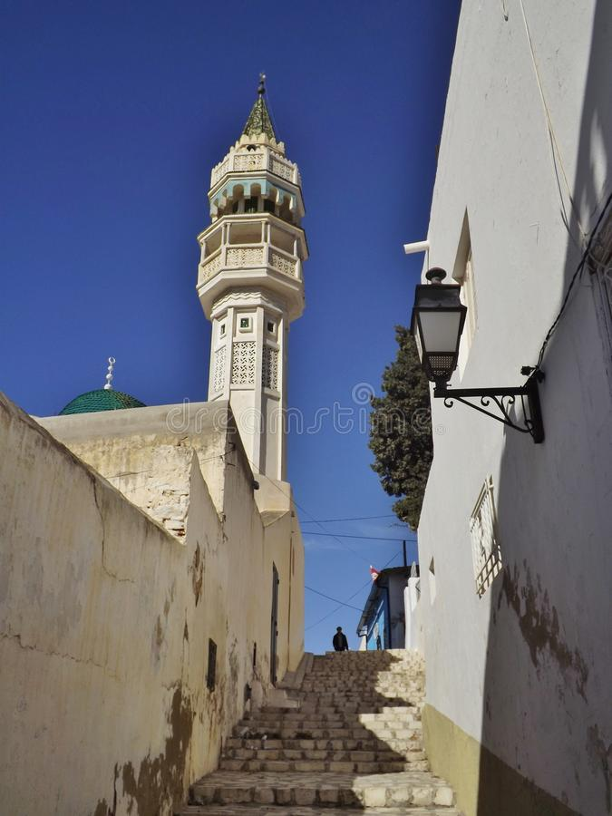 Mosque in Zaghouan, Tunisia, Africa. Minaret of a mosque in the old town of Zaghouan, Northeast Tunisia stock photos