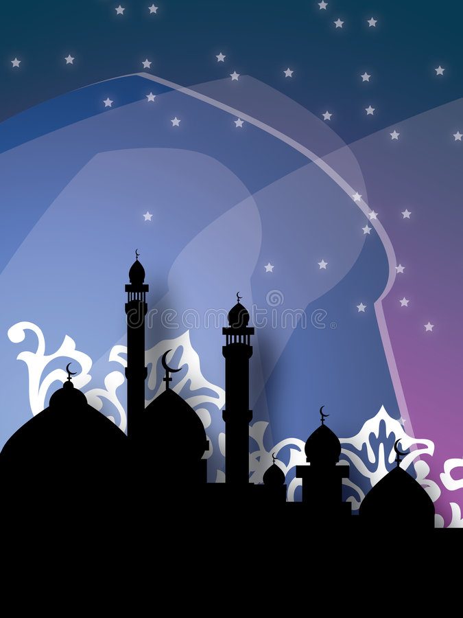 Mosques Against Dark Stock Images