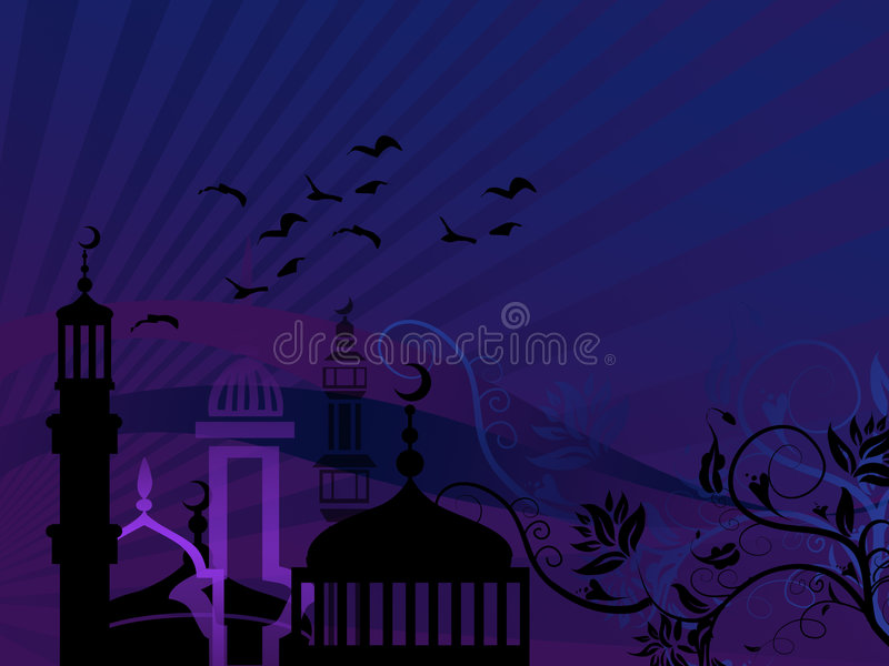 Download Mosques Against Starry Night Stock Illustration - Image: 6117255