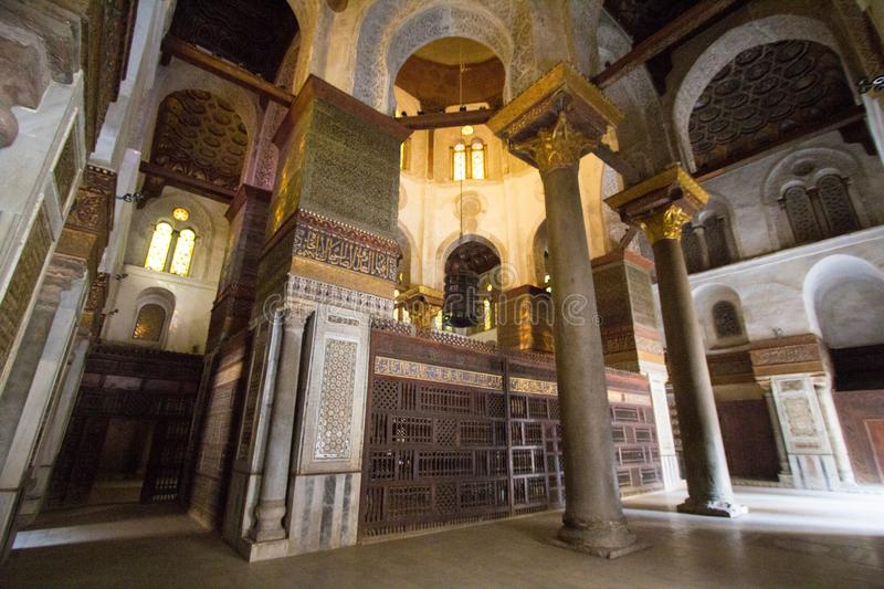 Mosques Moez Street. Cairo, Egypt – November 9, 2018: photo for one of Mosques Moez Street ,is one of the oldest streets in Cairo , and it is named for Al royalty free stock photos