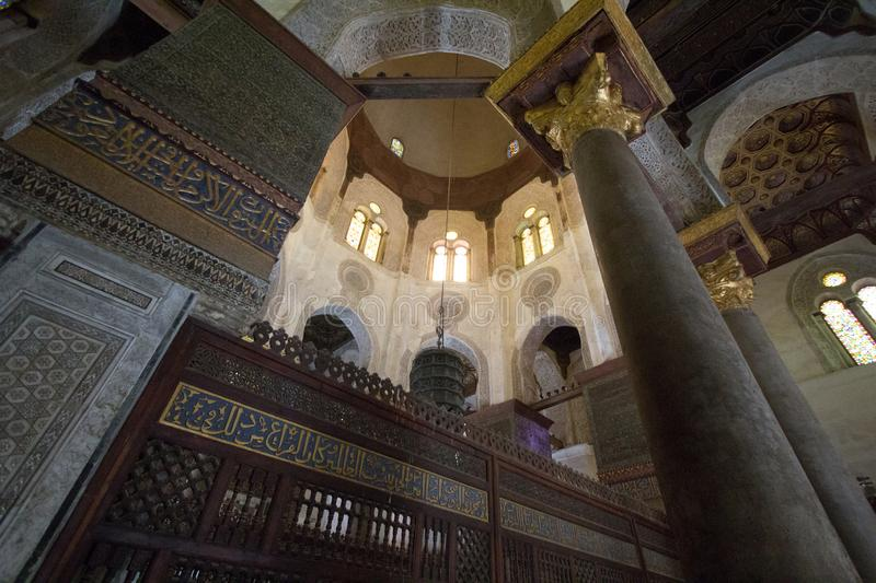 Mosques Moez Street. Cairo, Egypt – November 9, 2018: photo for one of Mosques Moez Street ,is one of the oldest streets in Cairo , and it is named for Al royalty free stock image