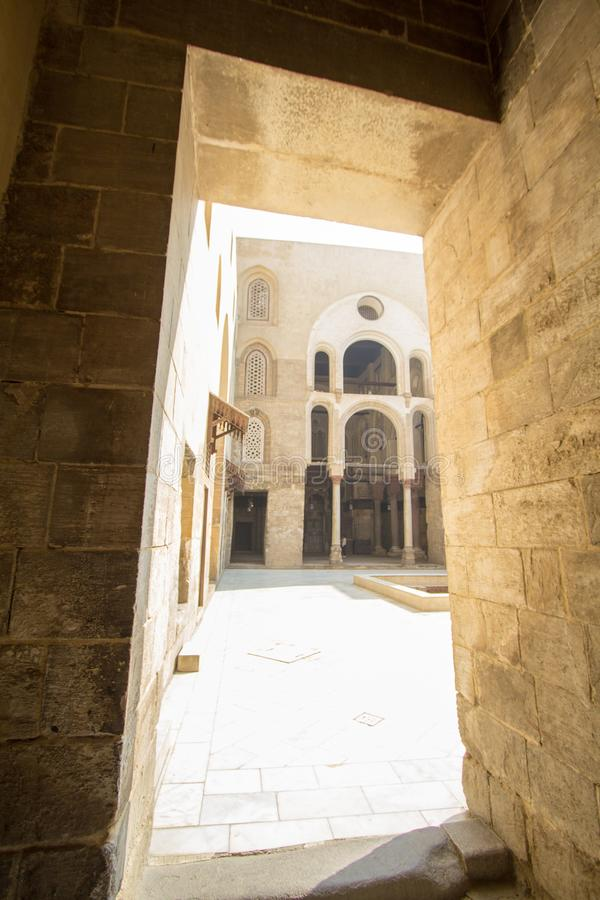 Mosques Moez Street. Cairo, Egypt – November 9, 2018: photo for one of Mosques Moez Street ,is one of the oldest streets in Cairo , and it is named for Al royalty free stock photography
