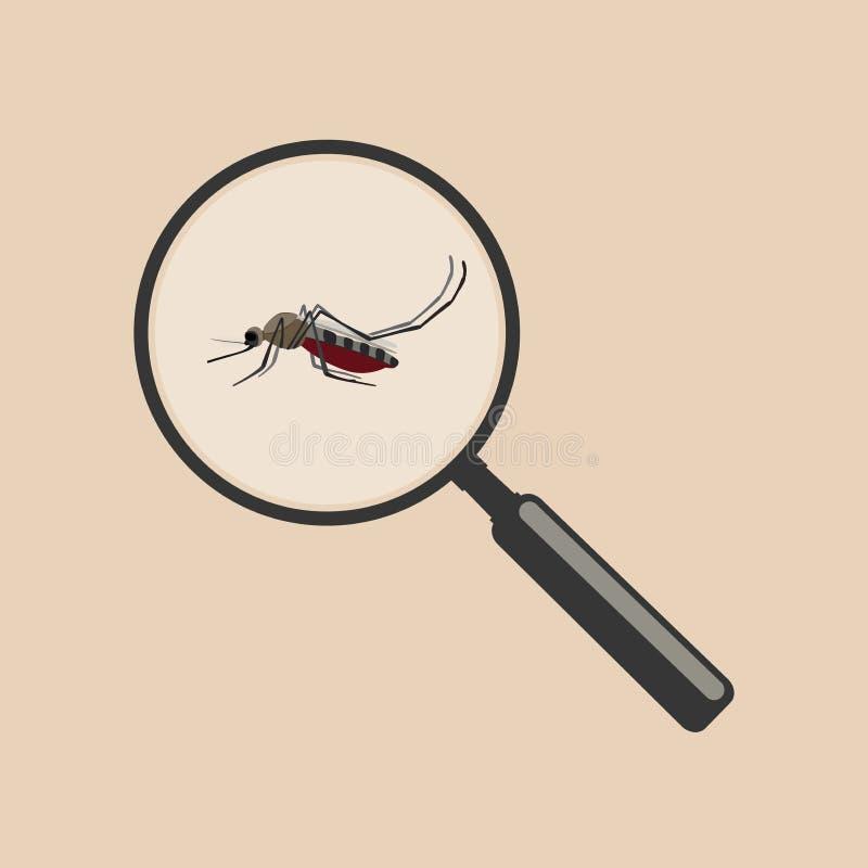 Mosquito com lente de aumento ilustração stock