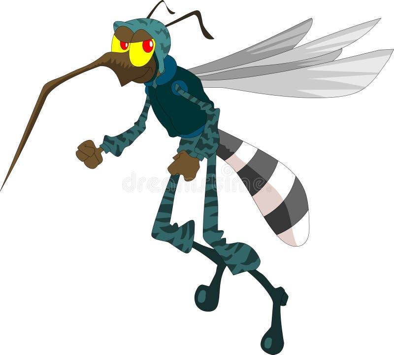 Mosquito com o uniforme do soldado pronto para trabalhar ilustração stock