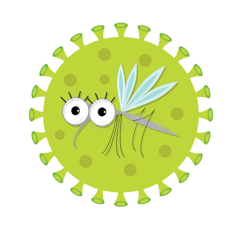 Mosquito. Cute cartoon funny character. Virus Zika sign icon. Insect collection. Flat design. Isolated. White background. Vector illustration stock illustration