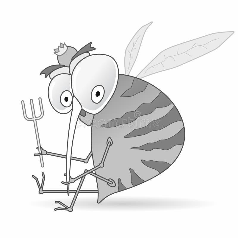 Mosquito hambriento de la historieta que sostiene la bifurcación libre illustration