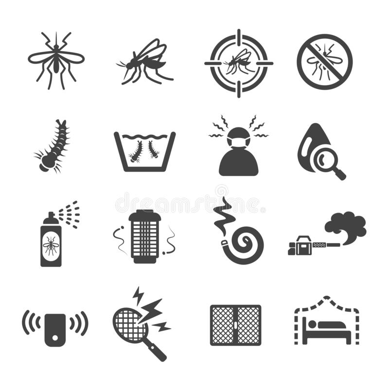 Mosquito icon set. Vector and illustration royalty free illustration