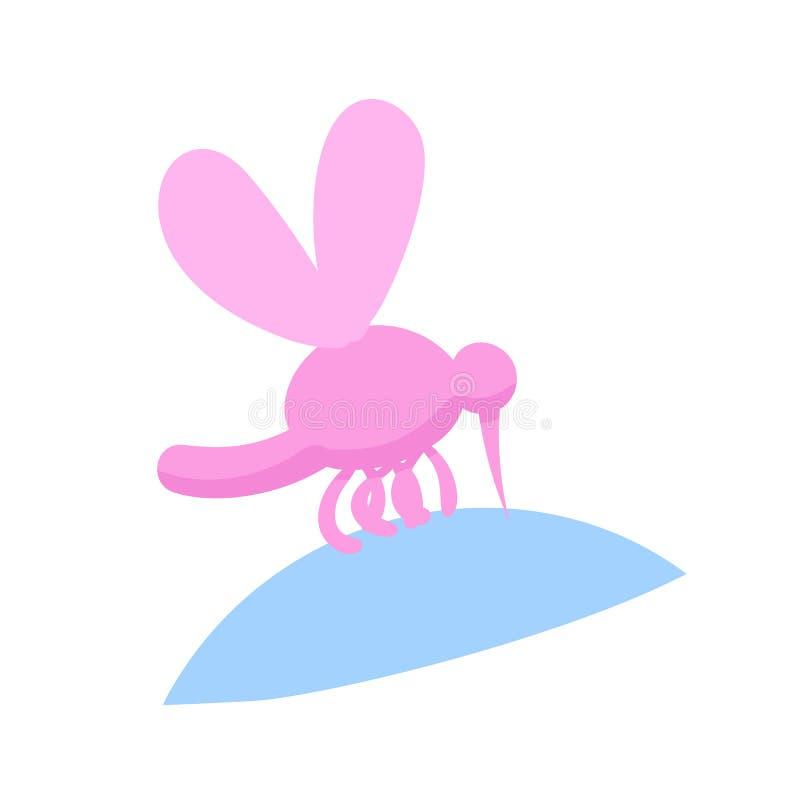 Mosquito picado Icono de la caricatura de Bloodsucker Ilustración vectorial plana Aislado sobre fondo blanco libre illustration