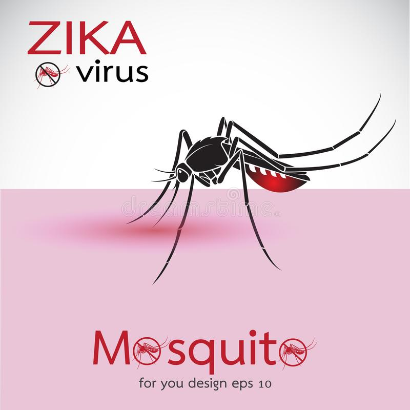 Mosquito Sucking Blood On Skin. Spread of zika and dengue virus. Stop Dengue fever with Mosquito. Zika Virus Outbreak. Easy editable layered vector vector illustration