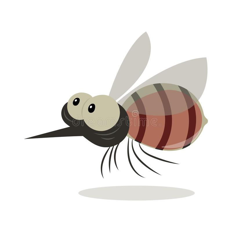 Fatty Mosquito with Blood in Belly. Mosquito vector cartoon illustration isolated on white background. Funny mosquito cartoon. Mosquito with blood in belly vector illustration
