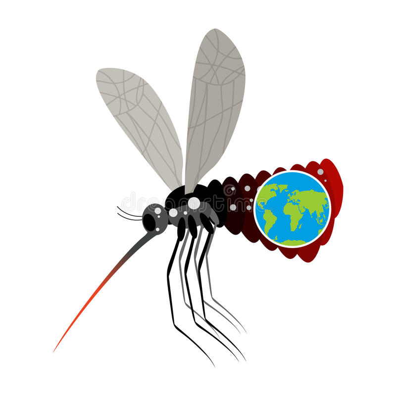 Mosquito Virus Zika. Big mosquito overtook planet Earth. Big belly from insect. Epidemic on Earth. Large stand-alone mosquito on. White background. terrible royalty free illustration
