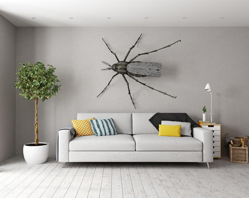 The mosquito on the wall in the room stock illustration