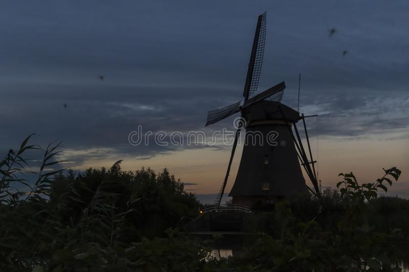 Mosquitoes infected the windmills area at Kinderdjik royalty free stock images