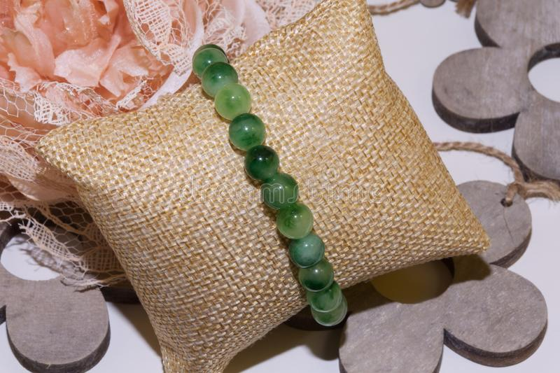 Moss agate natural stone bracelet stock photography