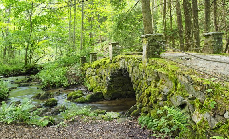 Moss Covered Antique Stone Bridge nahe dem kleinen Fluss, der gro?e Smokies-Gebirgsnationalpark stockfoto