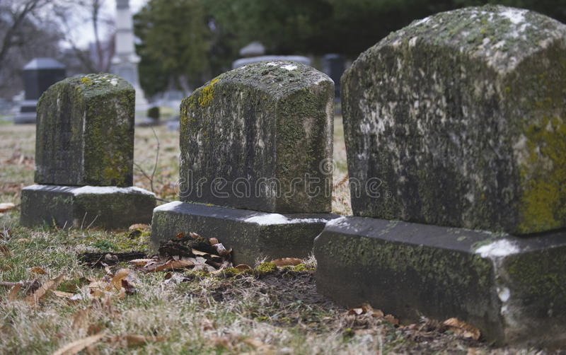 Moss Covered Headstones royalty free stock photos