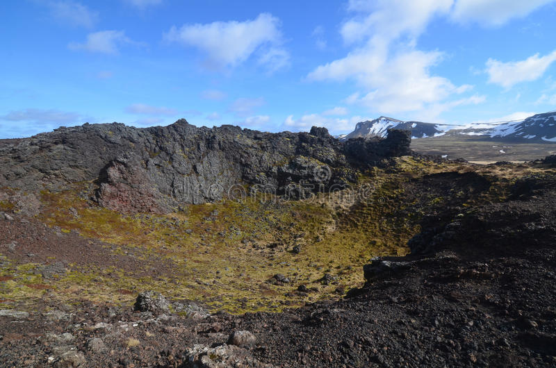 Moss Covered Lava Rock in Eldborg Crater stock photography