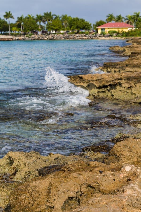 Moss Covered Rocks et ressac tropical photos stock