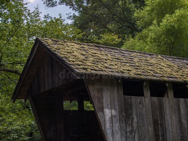 Moss Covered Roof on Historic Pisgah Covered Bridge royalty free stock photography