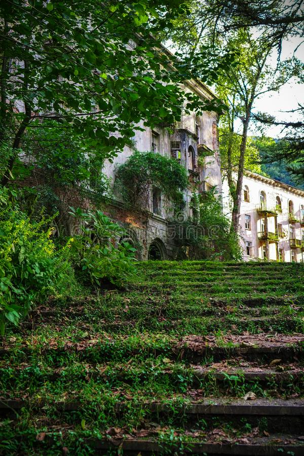A moss-covered staircase leading to an old abandoned house. Ghost town miners coal Tkvarcheli. Abkhazia royalty free stock photo
