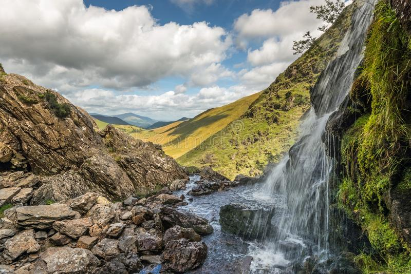 Moss Force Waterfall Buttermere arkivfoton