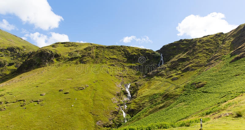 Moss Force waterfall Lake District National Park Cumbria uk on a beautiful blue sky summer day royalty free stock photo